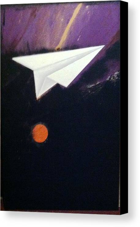 Airplane Canvas Print featuring the painting Tetrad Moon #1 by Roxanne Green