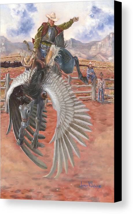 Pegasus Canvas Print featuring the painting The Air Marshal by Jeff Brimley