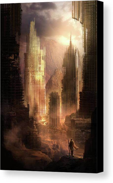 Sci-fi Canvas Print featuring the painting The Arrival by Philip Straub