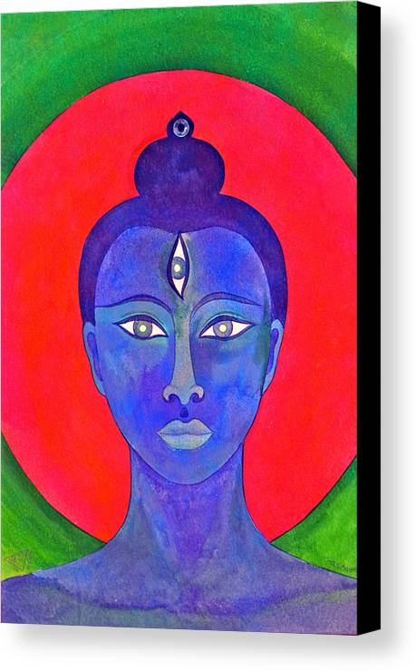 Head Of Meditation Buddha Canvas Print featuring the painting The Blue Buddha by Jennifer Baird