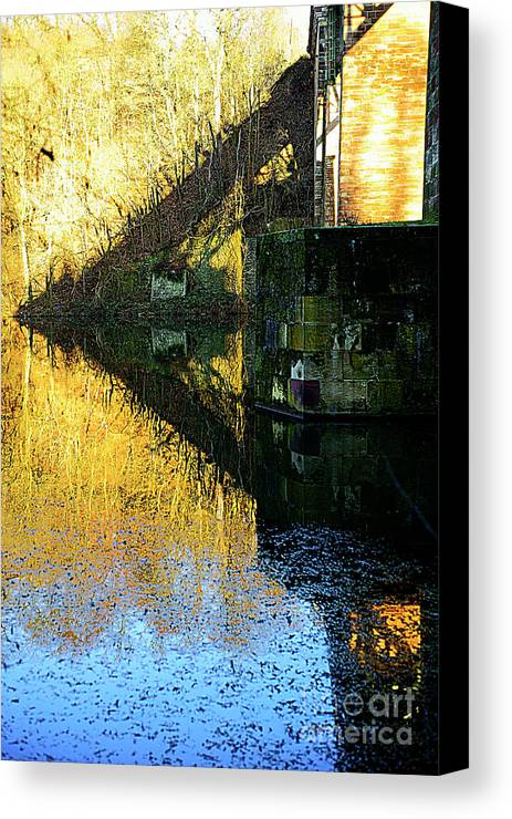 Landscape Canvas Print featuring the photograph The Bridge On The River And Its Shadow. by Alexander Vinogradov