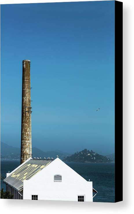 America Canvas Print featuring the photograph The Chimney Of Alcatraz by Lahiru Ranasinghe