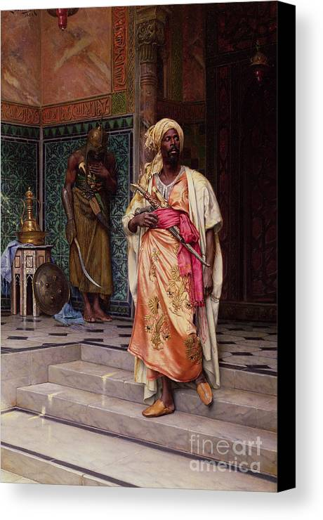 The Canvas Print featuring the painting The Emir by Ludwig Deutsch
