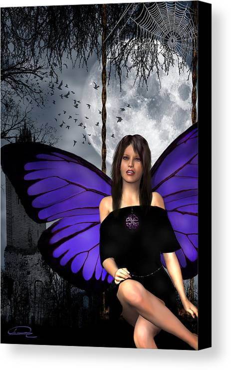 Gothic Canvas Print featuring the digital art The Gothic Fae Lady by Emma Alvarez