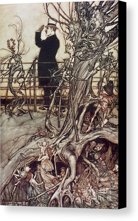 Arthur Rackham Canvas Print featuring the drawing The Kensington Gardens Are In London Where The King Lives by Arthur Rackham