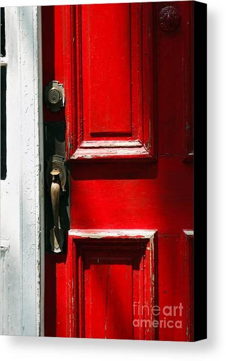 Door Canvas Print featuring the photograph The Old Red Door by Hideaki Sakurai