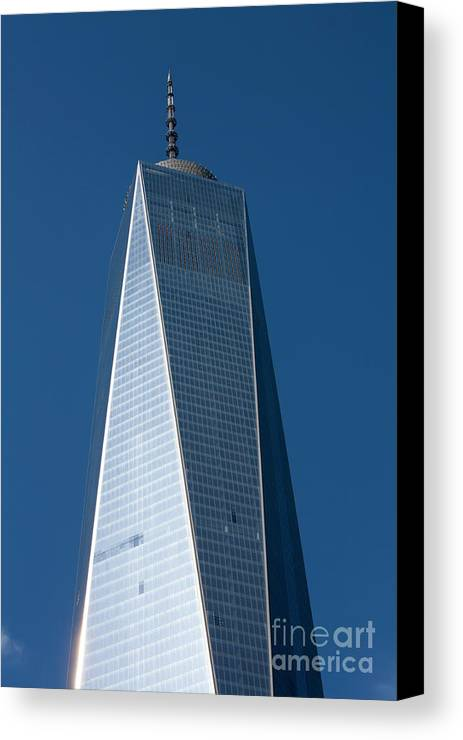 [one World Trade Centre] [freedom Tower] [new York City] Manhattan Usa [united States Of America] American America City Cities [new York] [blue Sky] [day Light] [sky Scraper] Canvas Print featuring the photograph The One World Trade Centre Or Freedom Tower New York City Usa by Michael Walters