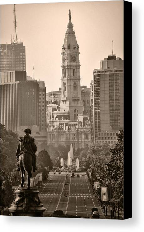 Benjamin Franklin Parkway Canvas Print featuring the photograph The Parkway In Sepia by Bill Cannon