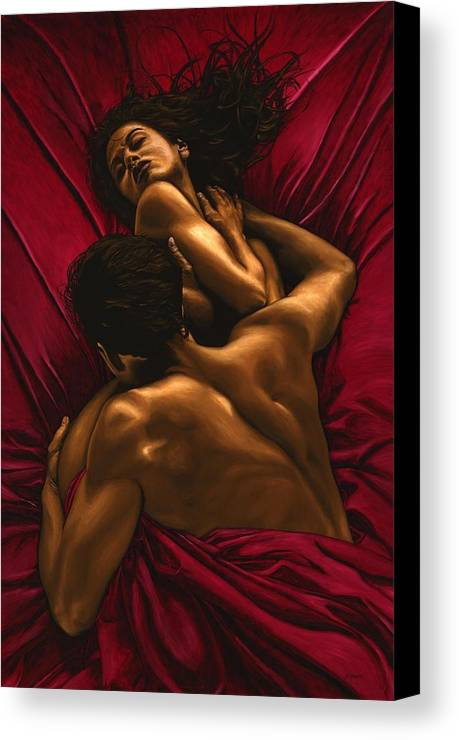 Nude Canvas Print featuring the painting The Passion by Richard Young