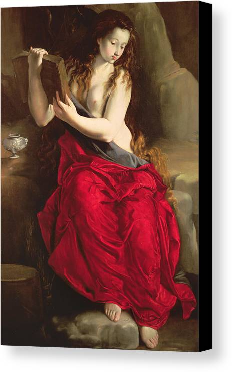 Mary Magdalene Canvas Print featuring the painting The Penitent Magdalen by Spanish School