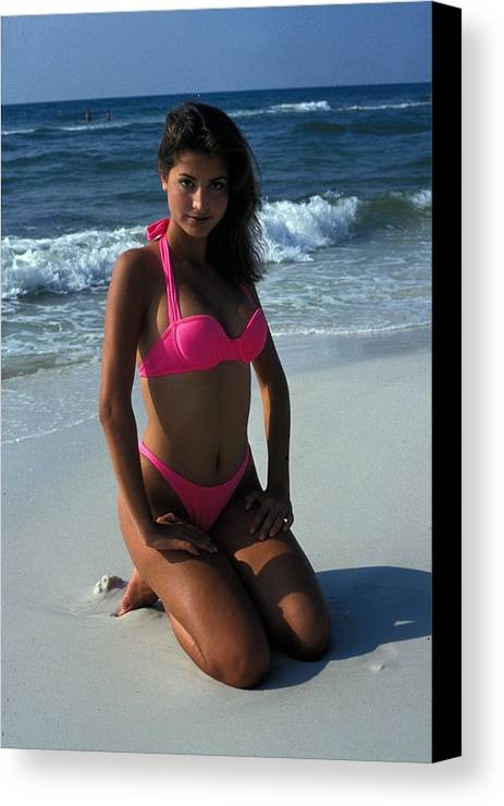 Attractive Canvas Print featuring the photograph The Pink Bikini by Carl Purcell