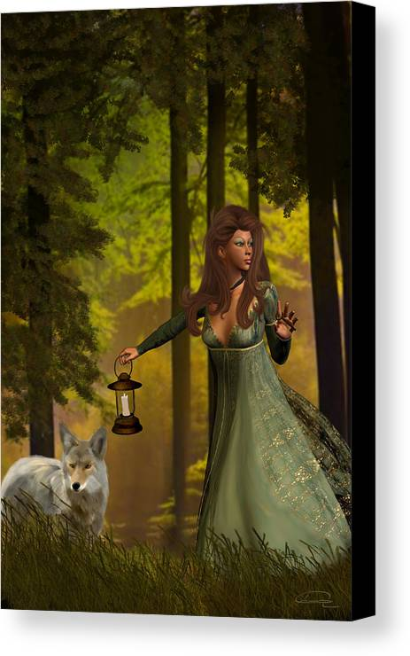 Princess Canvas Print featuring the painting The Princess And The Wolf by Emma Alvarez