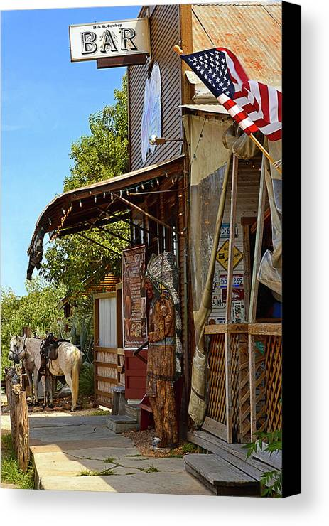 Cowboy Canvas Print featuring the photograph The Real Cowboy Bar by Nadalyn Larsen