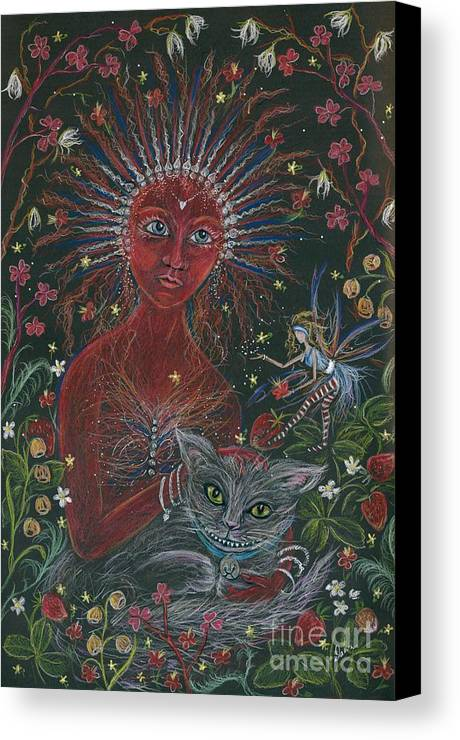Cheshire Cat Canvas Print featuring the drawing The Red Queen by Dawn Fairies