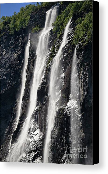 Waterfall Canvas Print featuring the photograph The Seven Sister Waterfall by Arild Lilleboe