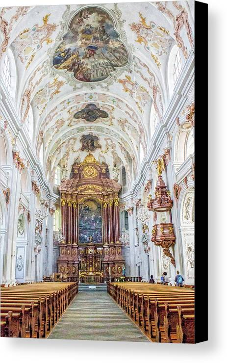 Lucerne's Jesuit Church Canvas Print featuring the photograph Lucerne's Jesuit Church by Lisa Lemmons-Powers