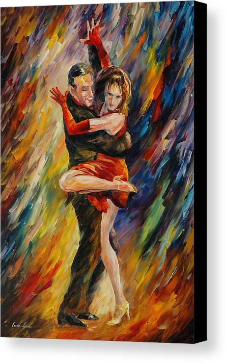 Dance Canvas Print featuring the painting The Sublime Tango by Leonid Afremov