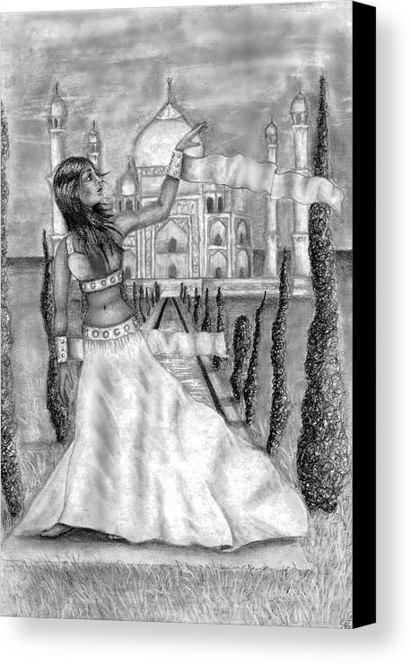 Taj Mahal Canvas Print featuring the drawing The View by Scarlett Royal