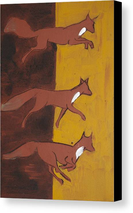 Three Foxes Running Animal Celtic Black Ochre Red Canvas Print featuring the painting Three Foxes Running by Sophy White