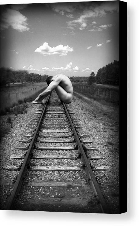 Photo Collage Canvas Print featuring the photograph Tracks by Chance Manart