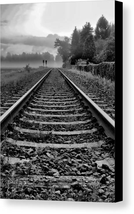 Train Canvas Print featuring the photograph Tracks In The Morning by Edward Myers
