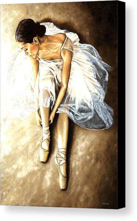 Ballet Canvas Print featuring the painting Tranquil Preparation by Richard Young
