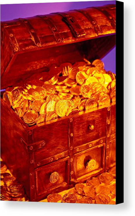 Treasure Chest Gold Coins Pirates Canvas Print featuring the photograph Treasure Chest With Gold Coins by Garry Gay