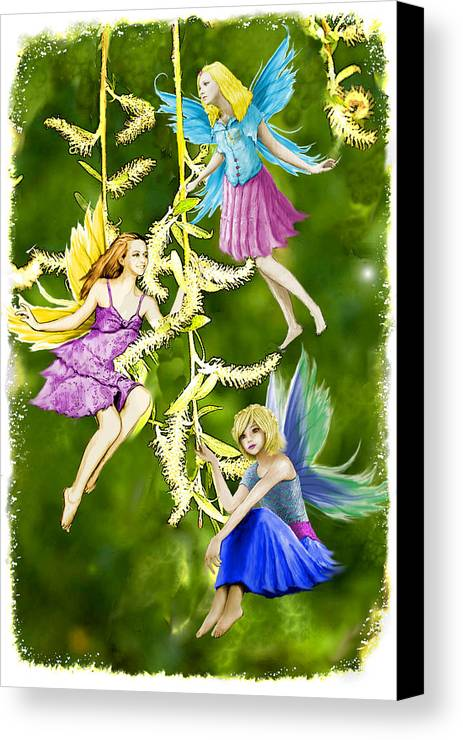 Illustration Canvas Print featuring the digital art Tree Fairies On The Weeping Willow by Yuichi Tanabe