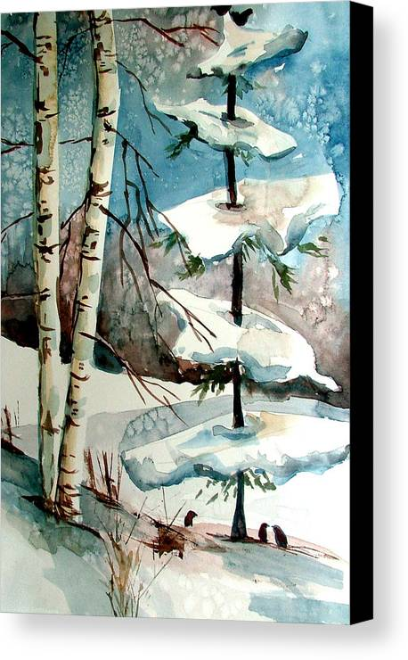 Winter Canvas Print featuring the painting Tree Talkers by Mindy Newman
