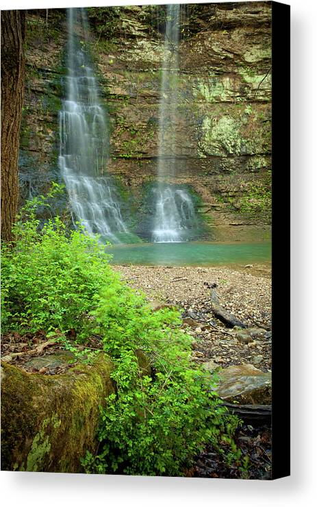 Landscape Canvas Print featuring the photograph Tripple Falls In Springtime by Iris Greenwell