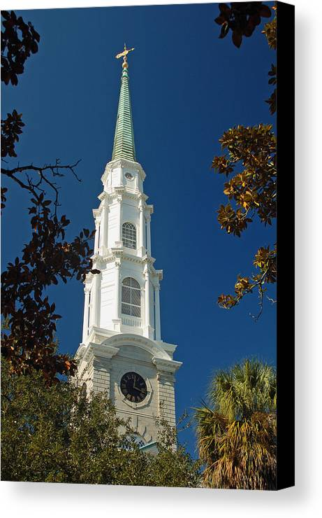 Steeple Canvas Print featuring the photograph True North - Savannah Steeple by Suzanne Gaff