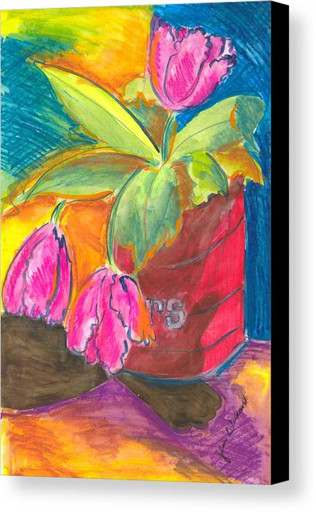 Flowers Canvas Print featuring the painting Tulips In Can by Jean Blackmer