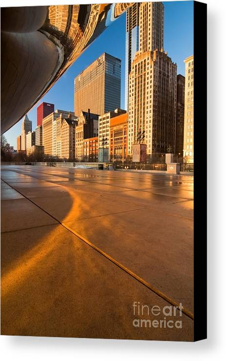 Chicago Canvas Print featuring the photograph Under The Bean And Chicago Skyline At Sunrise by Sven Brogren