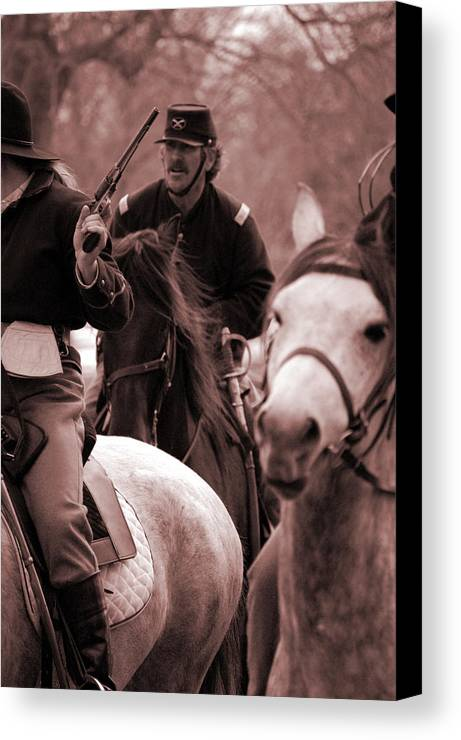 Civil War Canvas Print featuring the photograph Union Cavalry by Jame Hayes