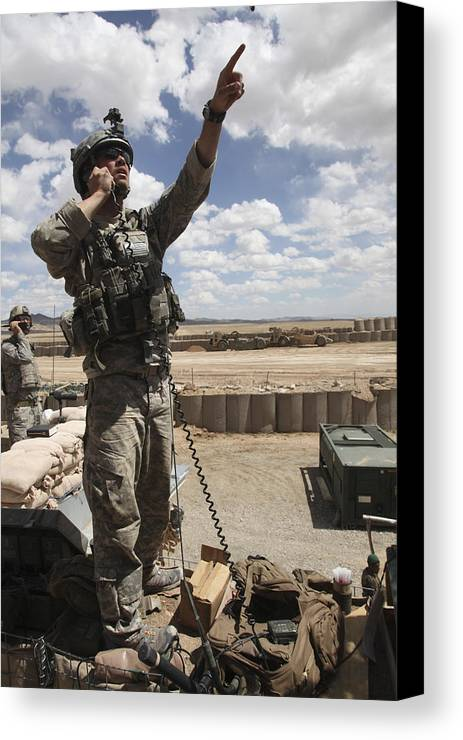 Looking Up Canvas Print featuring the photograph U.s. Air Force Member Calls For Air by Stocktrek Images