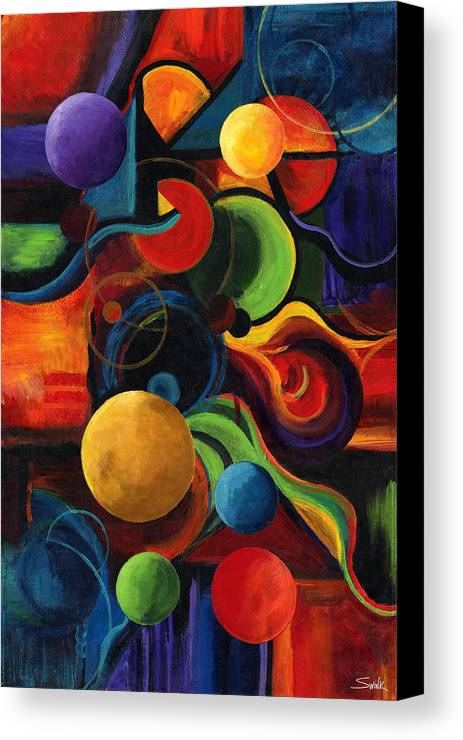 Synergy Canvas Print featuring the painting Vertical Synergy by Laura Swink