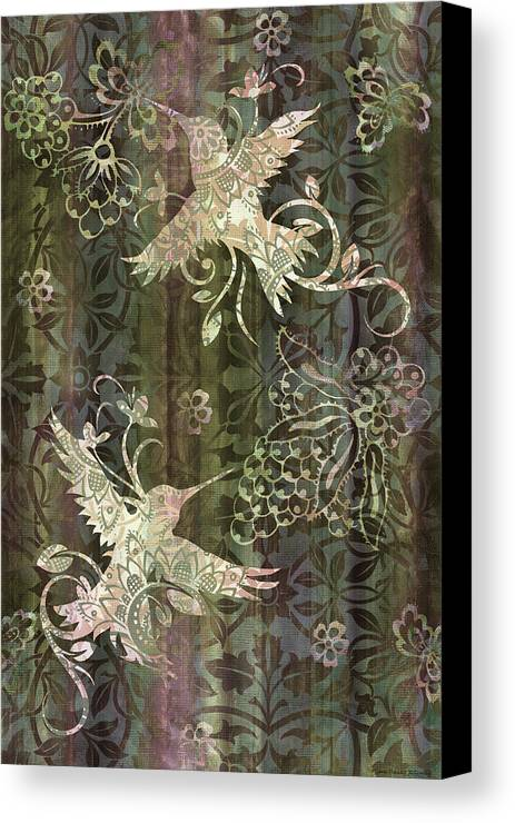 Hummingbird Canvas Print featuring the painting Victorian Hummingbird Green by JQ Licensing