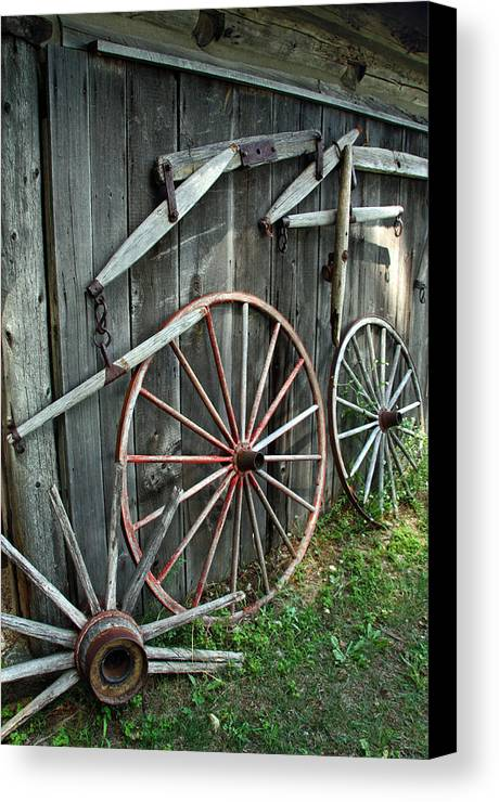 Wagon Canvas Print featuring the photograph Wagon Wheels by Joanne Coyle