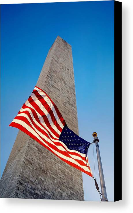 American Flag Canvas Print featuring the photograph Washington Monument by Ilker Goksen