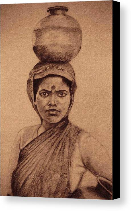 Village Girl Portrait.indian Woman Canvas Print featuring the drawing Water Carrier by Claudio Fiori