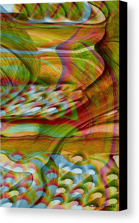 Abstracts Canvas Print featuring the digital art Waves And Patterns by Linda Sannuti