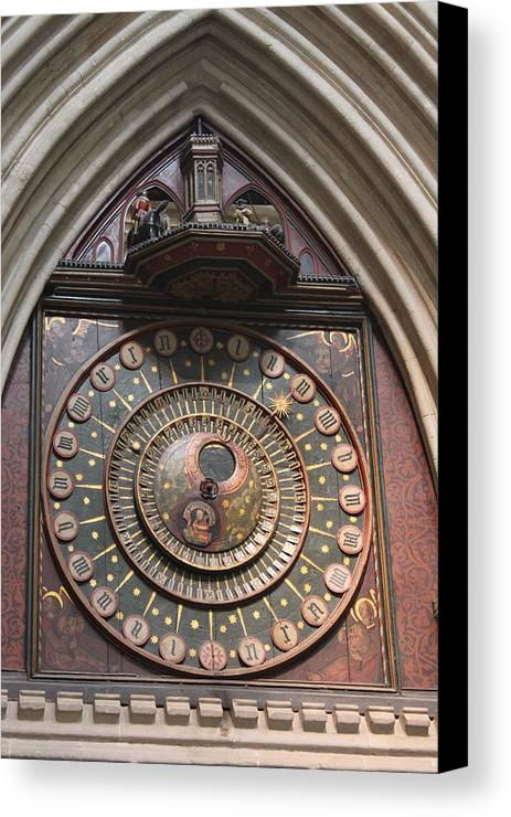 Wells Canvas Print featuring the photograph Wells Cathedral Astronomical Clock by Lauri Novak