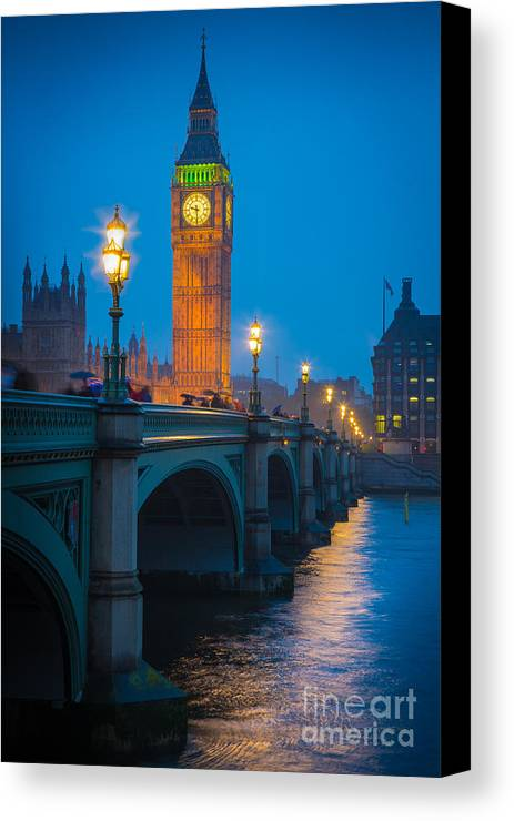 Big Ben Canvas Print featuring the photograph Westminster Bridge At Night by Inge Johnsson