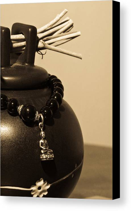 Buddhist Canvas Print featuring the photograph Whishing Jar And Buddha by Edward Myers