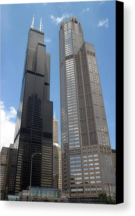 3scape Canvas Print featuring the photograph Willis Tower Aka Sears Tower And 311 South Wacker Drive by Adam Romanowicz