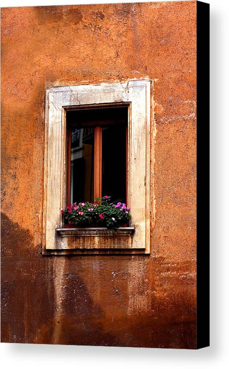 Italy Canvas Print featuring the photograph Window And Flowers Rome by Xavier Cardell