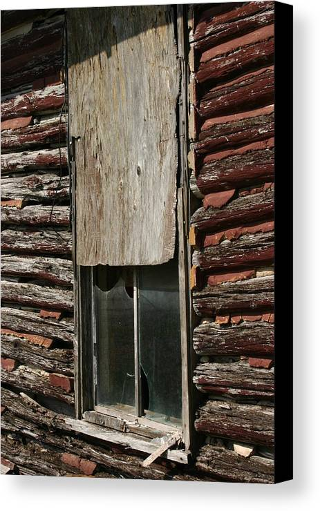 Canvas Print featuring the photograph Winslow Cabin Window by Curtis J Neeley Jr