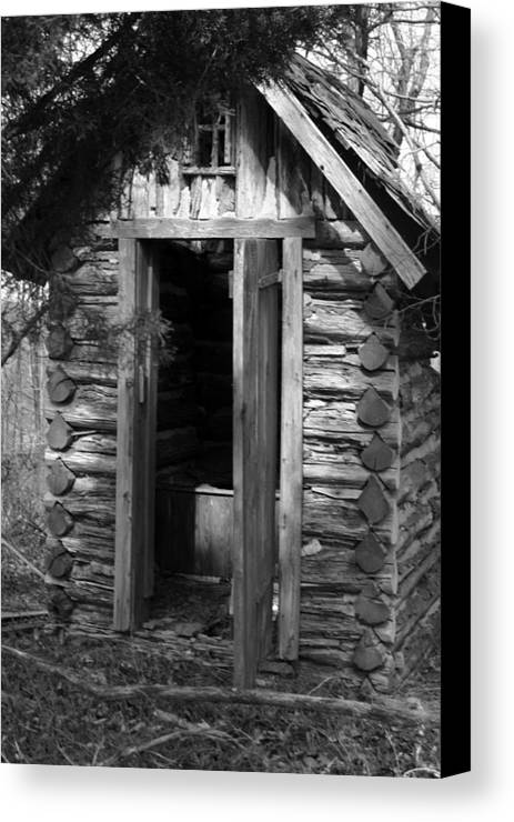 Ansel Adams Canvas Print featuring the photograph Winslow Log Outhouse by Curtis J Neeley Jr
