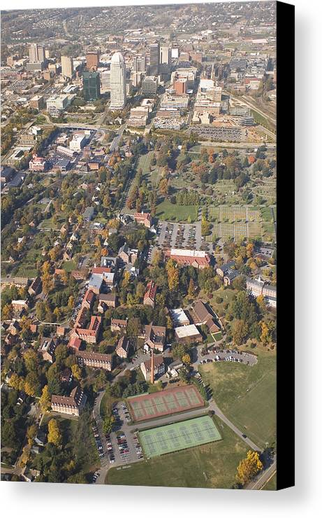 Aerial Canvas Print featuring the photograph Winston Salem Nc From Above by Robert Ponzoni