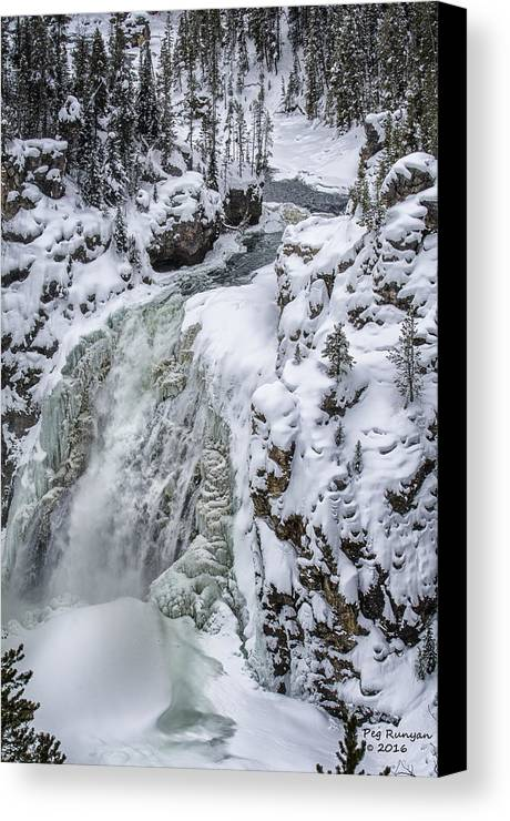 Waterfall Canvas Print featuring the photograph Winter Waterfall by Peg Runyan